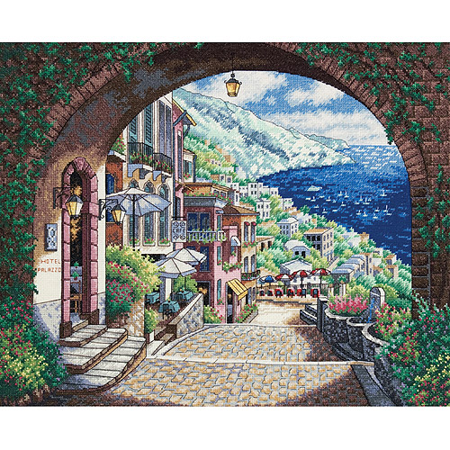 "Dimensions Gold Collection ""Coastal View"" Counted Cross Stitch Kit, 18-count, 15"" x 12"""