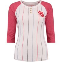 St. Louis Cardinals Wright & Ditson Women's Lockhart 3/4-Sleeve Raglan Pinstripe T-Shirt - White/Red
