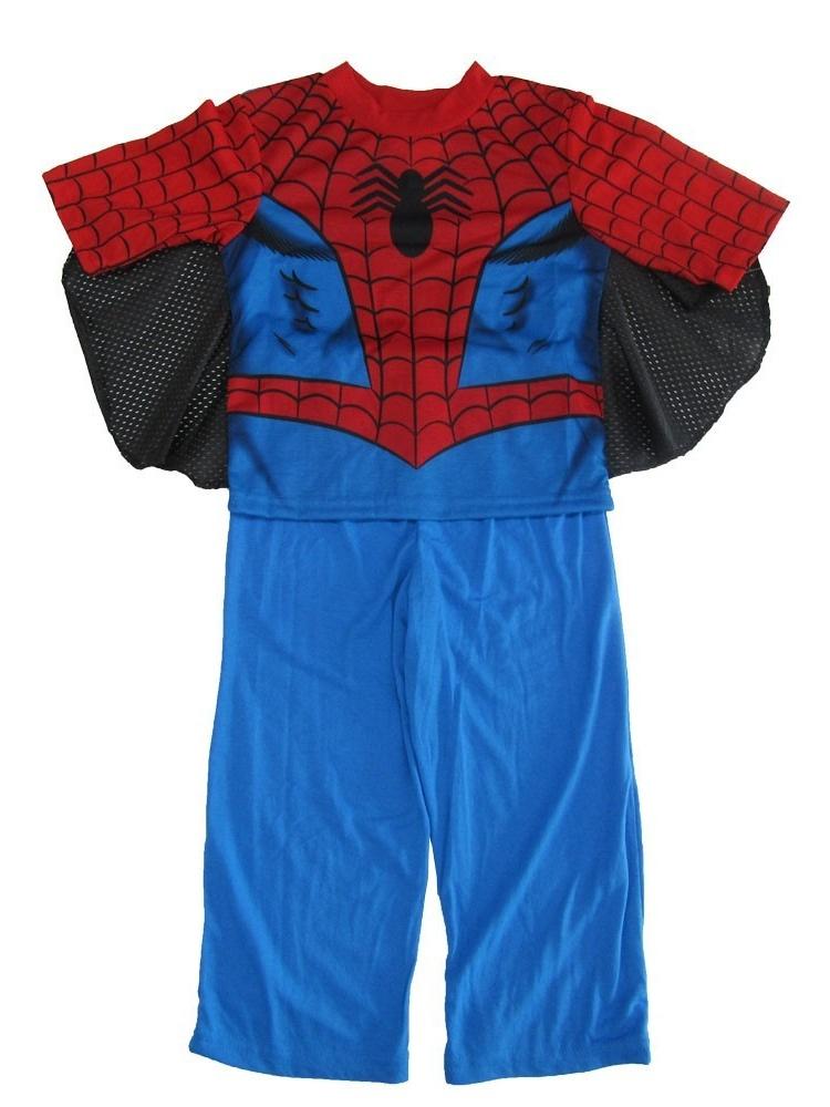 Marvel Little Boys Royal Blue Red Spiderman Short Sleeve Pajama Set