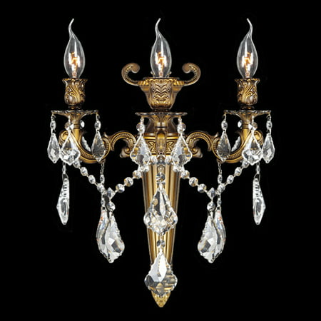 - Versailles Collection 3 Light Antique Bronze Finish Crystal Torch Wall Sconce 15