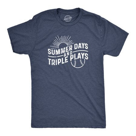 Mens Summer Days And Triple Plays Tshirt Funny Baseball Tee