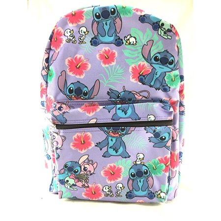 Lilo and Stitch Purple Allover Print 16 Girls Large School Backpack