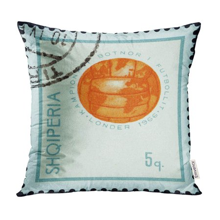 ECCOT Albania Circa 1966 Stamp Printed in from The Football World Cup England Issue Shows Pillow Case Pillow Cover 20x20