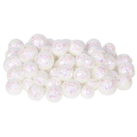 Vickerman L132201 20 mm  25 mm & 30 mm White Glitter Styrofoam Ball Christmas Ornament  72 per Bag Holiday Bulb Ornament