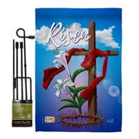 "Easter Cross Spring Impressions Decorative Vertical 13"" x 18.5"" Double Sided Garden Flag Set Metal Pole Hardware"