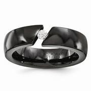 Edward Mirell Jewelry Collection Black Titanium 1/10-Carat Diamond 6mm Band Ring by Roy Rose Jewelry ~ Size 8