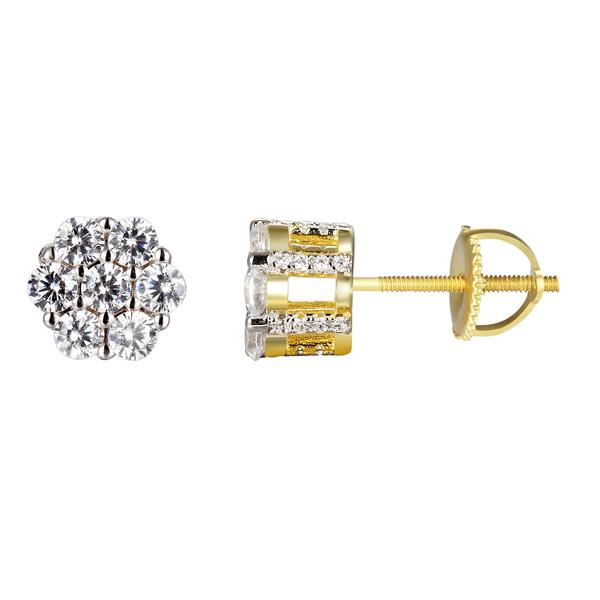 Master Of Bling Cluster Solitaire Silver 14k Gold Finish Stud