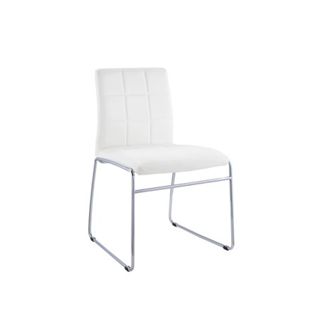 Acme Gregor White Faux Leather Side Chair Set Of 2