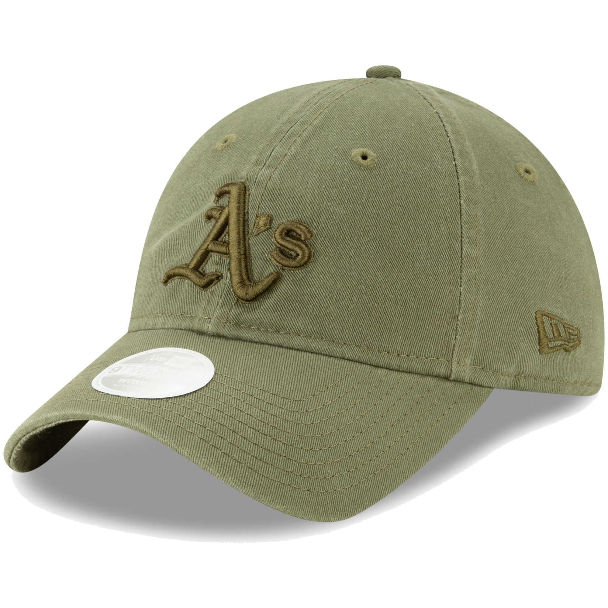 Oakland Athletics New Era Women's Bark Tonal Core Classic 9TWENTY Adjustable Hat - Olive - OSFA