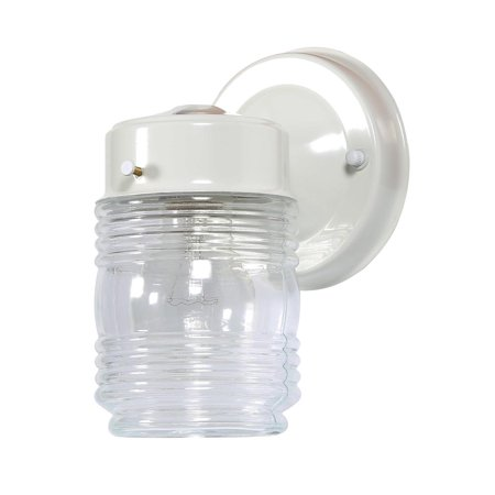 Design House 500181 Jelly Jar 1-Light Indoor/Outdoor Wall Light, Clear Ribbed Glass, White