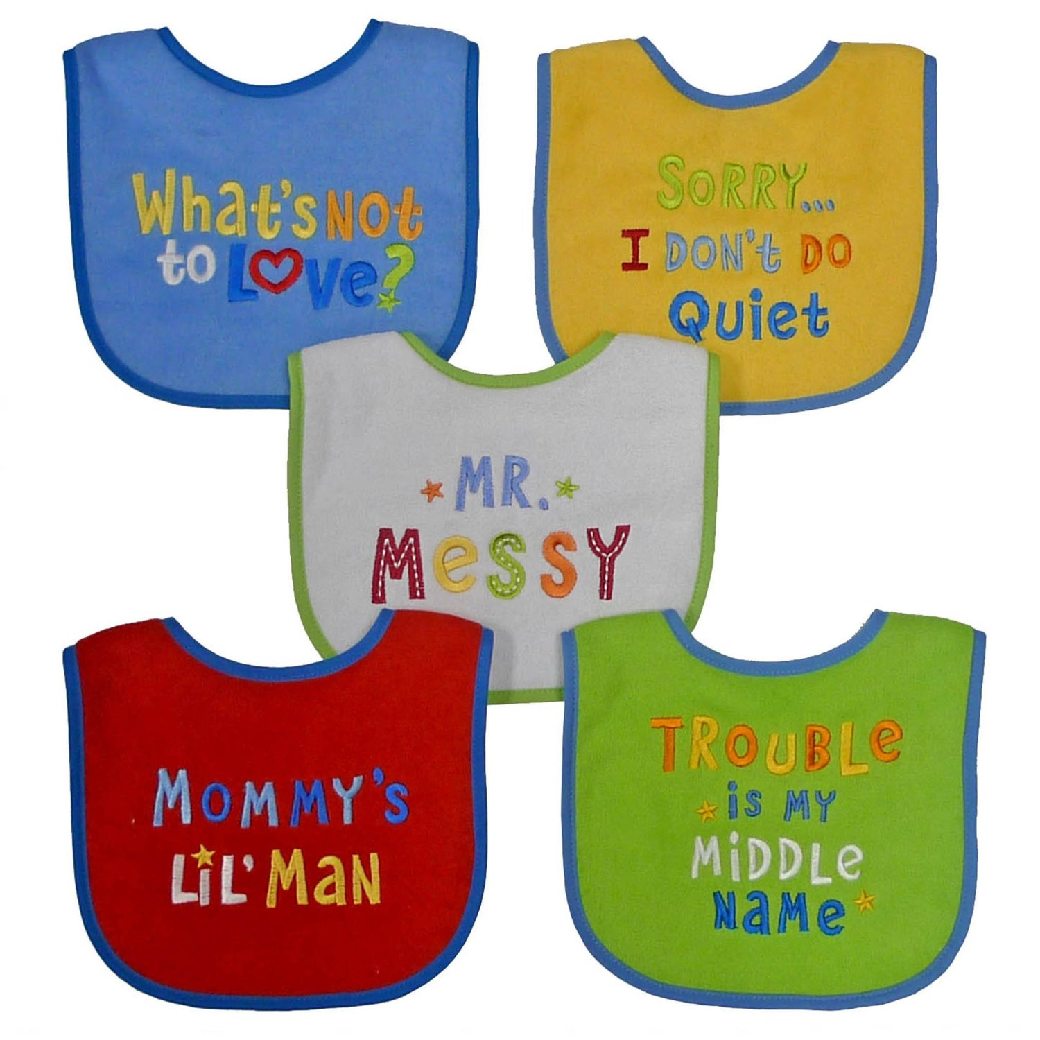 Neat Solutions 5 PK Knit Terry Attitude Sayings Bib Set - Boy