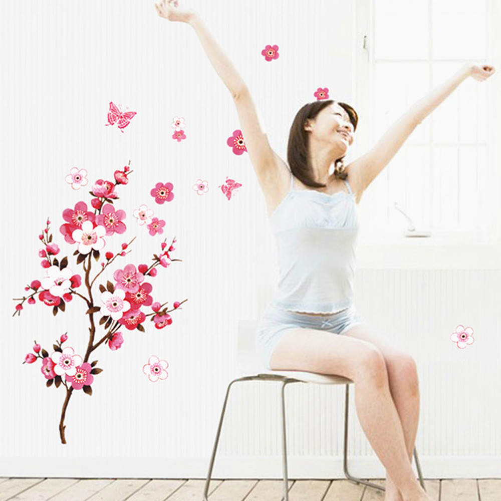 Fashion Peach Blossom Flower Butterfly Birds Wall Sticker Art Decals Decor Mural