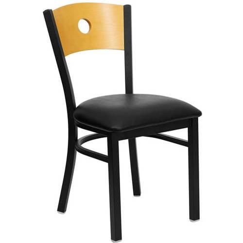 Circle Back Chairs - Set of 2, Black Metal / Natural Wood / Black Vinyl Seat