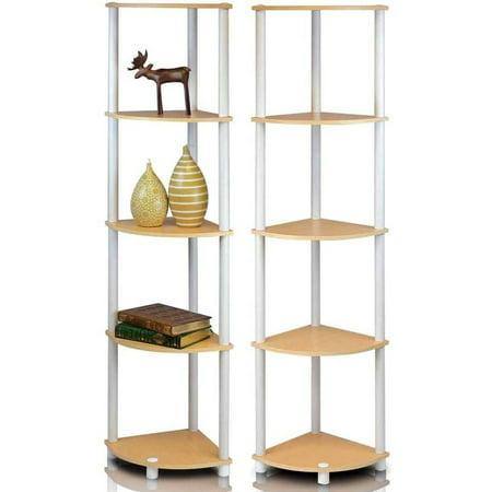 Slotted Display Shelf - Furinno 2-99811 Turn-N-Tube 5-Tier Corner Multipurpose Display Shelves
