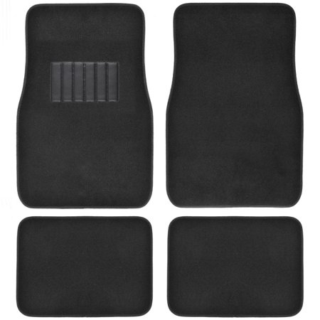 BDK Car Floor Mats 4 Pieces Carpet Protection - Universal Fit for Car, SUV, VA & Truck, Front & (Black Trunk Mat)