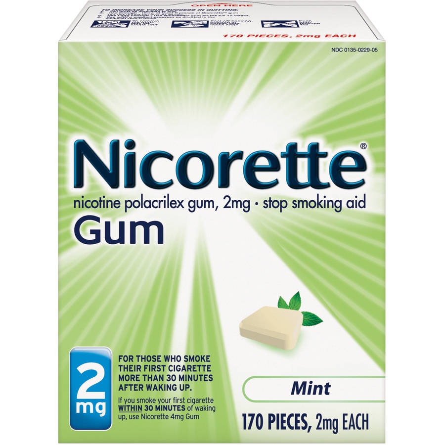 Nicorette Stop Smoking Aid Nicotine Gum, Mint Flavor, 2mg, 170 Pieces