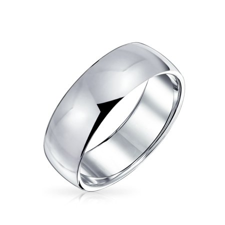 Classic Wide Dome Wedding Band Mens Womens Ring Polished Finish 925 Sterling Silver 6mm