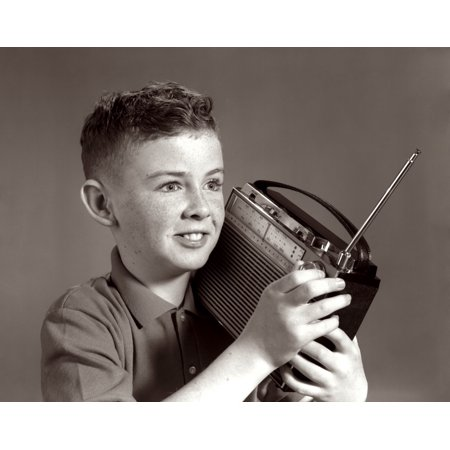 1960s Boy Listening To Portable Radio Indoor Rolled Canvas Art - Vintage Images - 1960s Boys