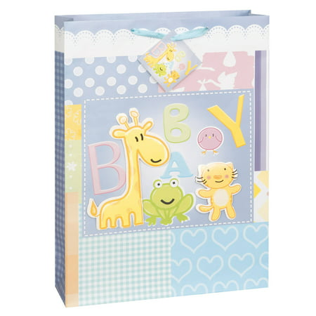 Large Baby Gift Bag (Large Animals Baby Shower Gift Bag, 18 x 13 in,)