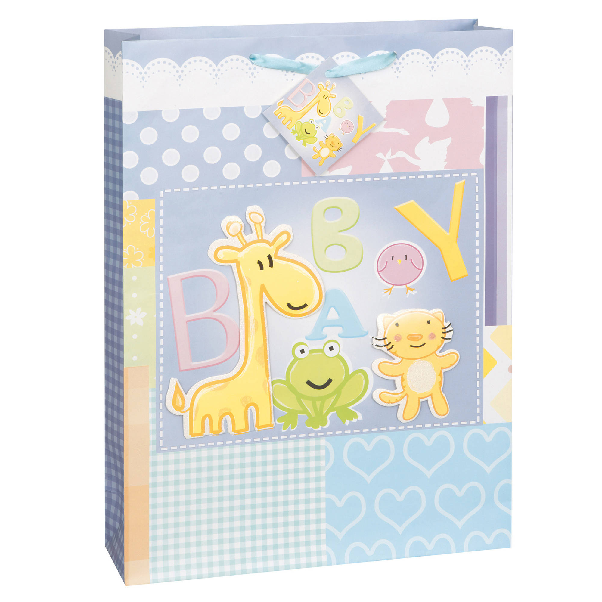 Large Animals Baby Shower Gift Bag, 18 x 13 in, 1ct