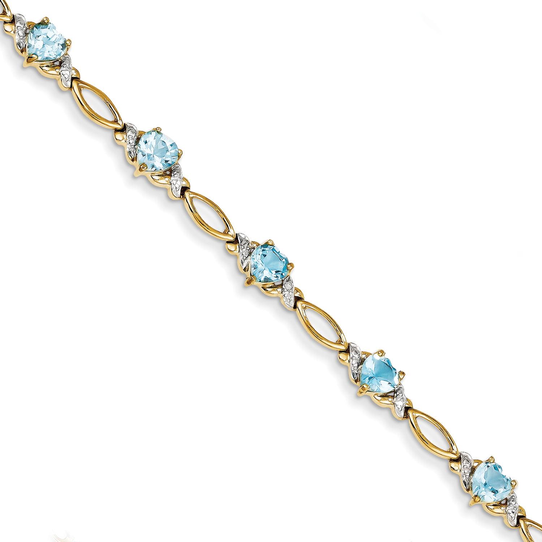 14k Yellow Gold Blue Topaz & Diamond Bracelet by
