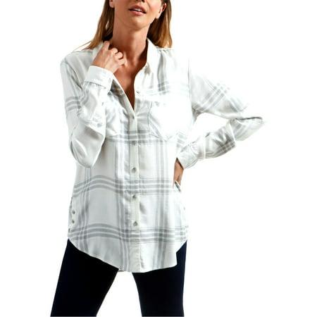 Lucky Brand Womens Metallic Plaid Button-Down Top White XL