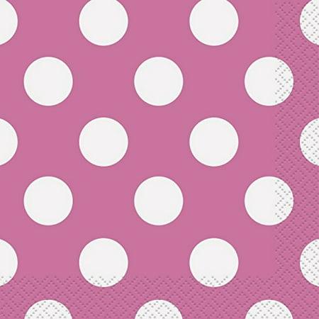 hot pink polka dot beverage napkins, 16ct - Hot Pink Polka Dot