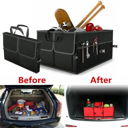 Black Collapsible Car Trunk Organizer Truck Cargo Portable Tools Folding Storage Bag Case Space Saving Auto Boot Organiser - image 2 of 4