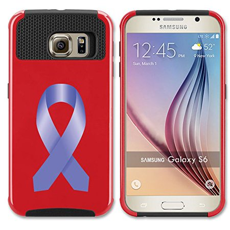 For Samsung Galaxy (S6 Edge + Plus) Shockproof Impact Hard Soft Case Cover Stomach Cancer Color Awareness Ribbon (Red) (Red Ribbon Awareness)