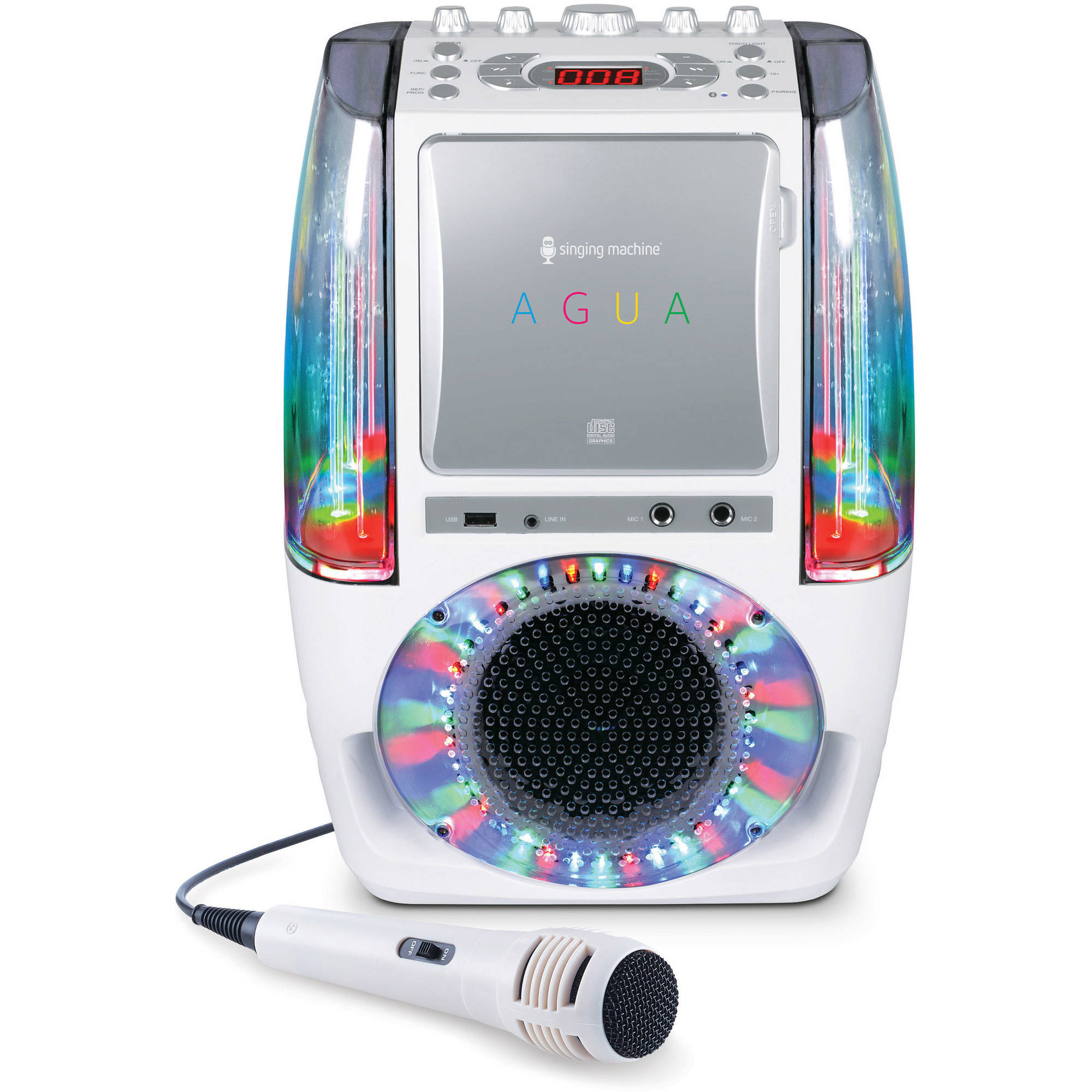 Singing Machine AGUA Dancing Water Fountain Karaoke System with LED Disco Lights and Wired Microphone, White