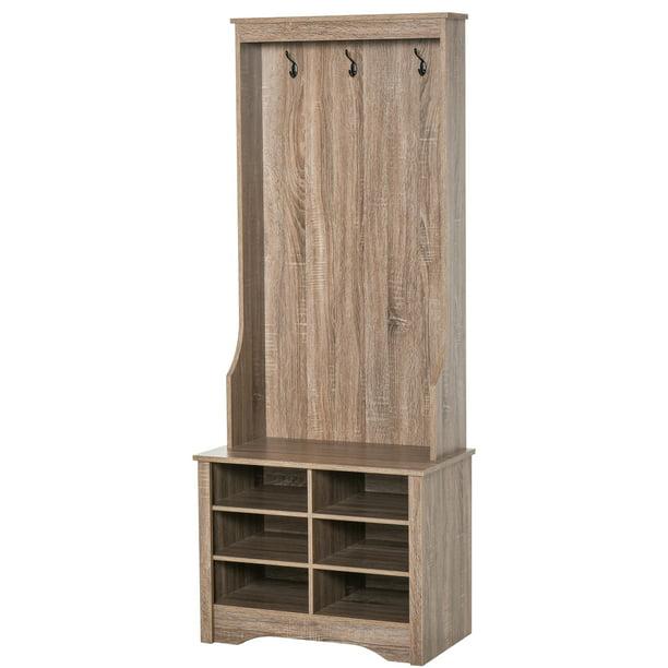 HOMCOM Coat Rack Wooden Hall Tree Storage Organizer Shoe Bench with Shoe Rack 3 Hooks for Hallway or Living Room, Brown