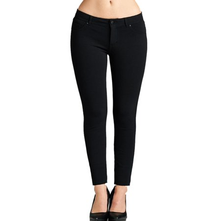 Slim Casual Pants - MOA COLLECTION Women's Plus Size Casual Solid Slim Fit Button Closure High Waist Pants