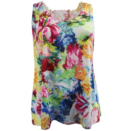 Women's Plus-Size Sleeveless Floral Print Design Lace Back Summer Tank Top Multi 1X G17.006L