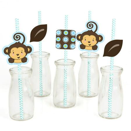 Monkey Boy - Paper Straw Decor - Baby Shower or Birthday Party Striped Decorative Straws - Set of 24 (Baby Shower Decor)