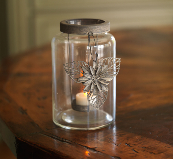 Pack of 4 Country Flower Charm Tealight Candle Holders 7.5""
