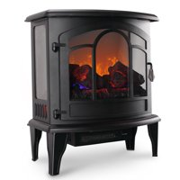 "Della 20"" Freestanding Electric Fireplace Heater Flame Display Log Wood Remote, 1400W"