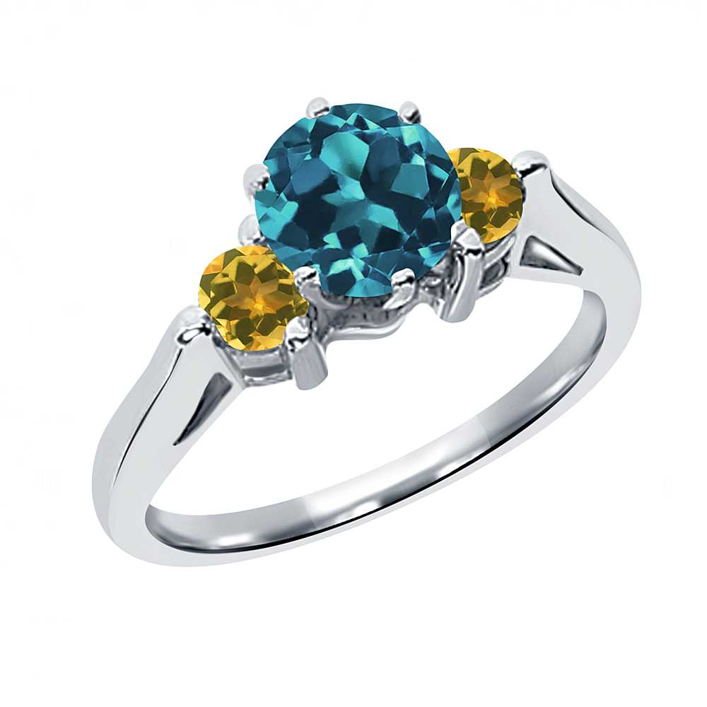 0.69 Ct Round London Blue Topaz Simulated Citrine 18K Whi...