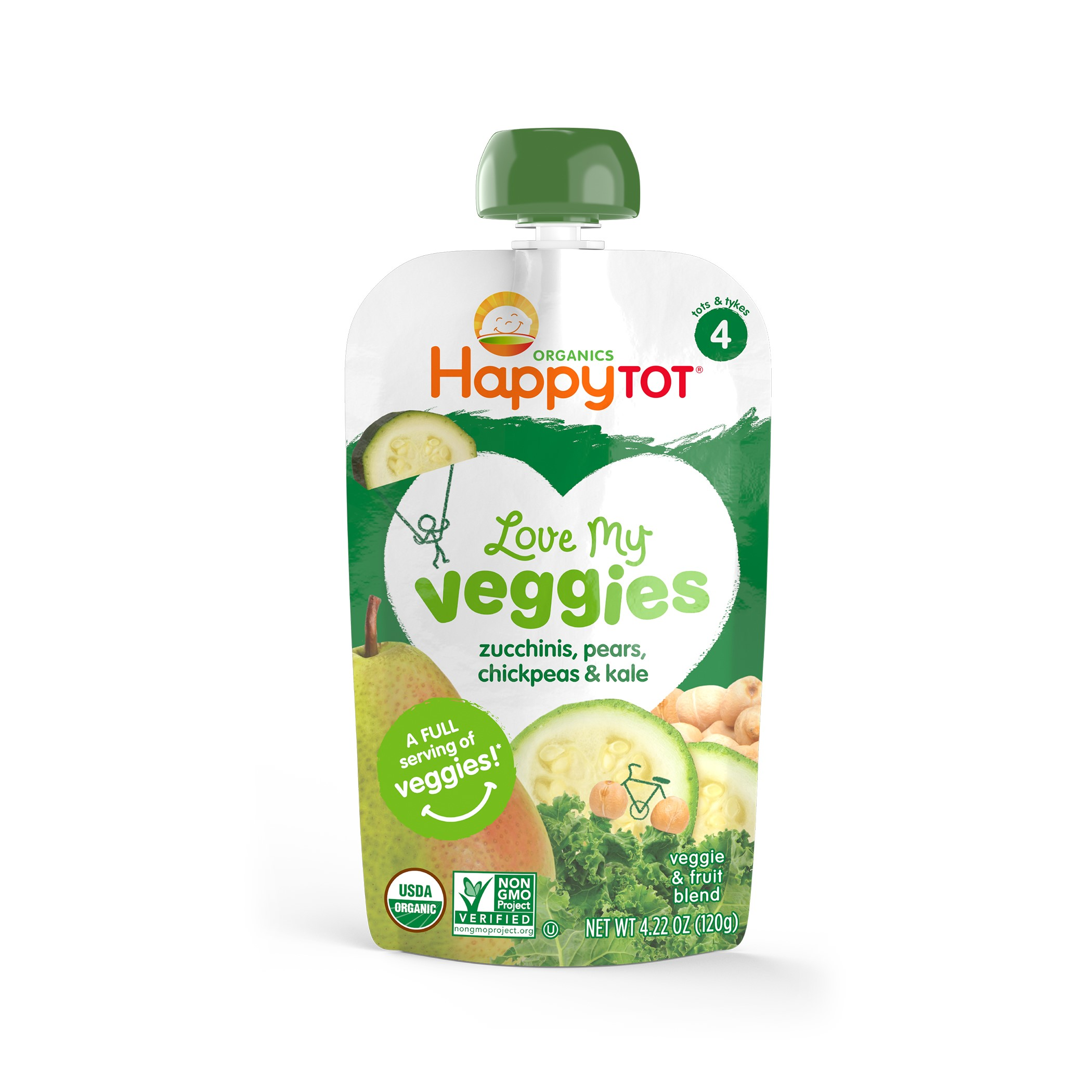 Happy Tot Love My Veggies, Stage 4, Organic Toddler Food, Zucchinis, Pears, Chickpeas & Kale, 4.22 Oz