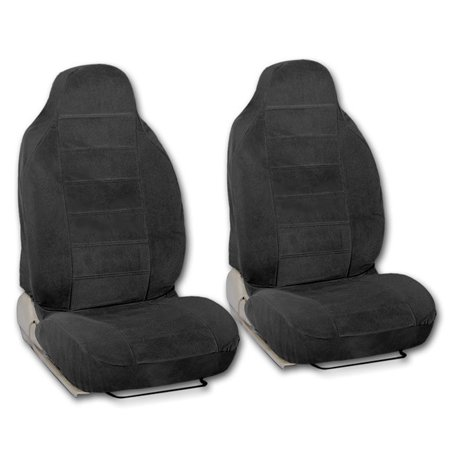 BDK Universal Fit 2 Piece Encore Fabric High Back Bucket Seat Deluxe Front Car