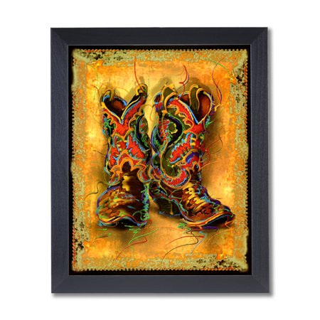 Western Cowboy Boots Rodeo Contemporary Wall Picture Black Framed Art Print - Western Frame