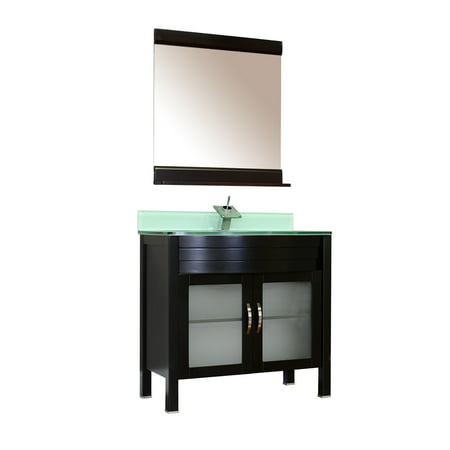 "Image of Elite 36"" Single Modern Bathroom Vanity in Black, Base Vanity"