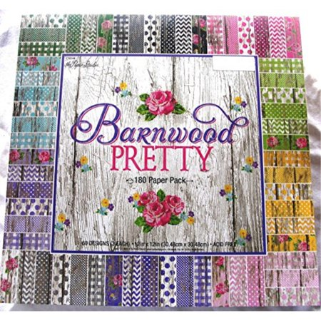 Barnwood Pretty 12x12 Scrapbooking Paper Pack 180 Sheets Chevron, Dots, Roses, Gingham, Country, Shabby, Farm Vintage, Old - Shabby Chic Scrapbook Paper