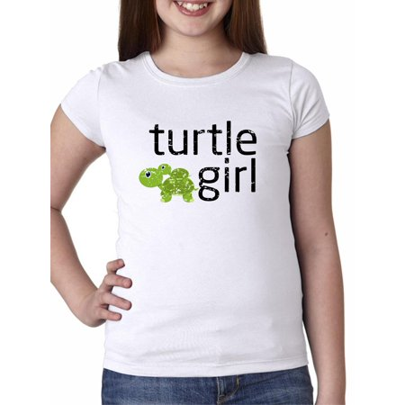 Turtle Girl - Baby Turtle Riding on Momma Turtle Girl's Cotton Youth T-Shirt - Girl Turtle
