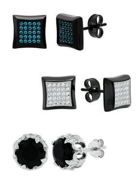 Men's 3pc. Stainless Steel CZ Stud & Sterling Silver Earring Set