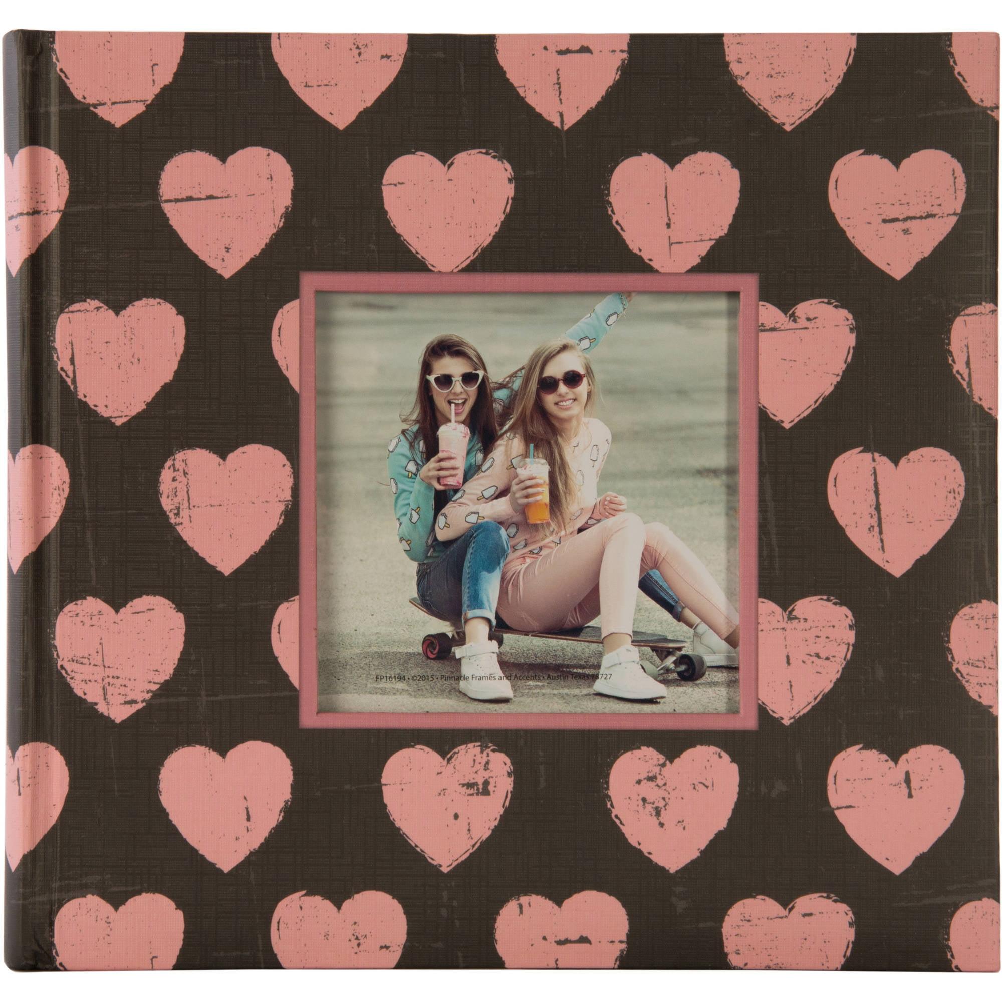 2UP Hearts Framed Front Photo Album, Pink