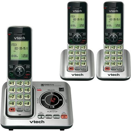 Vtech CS6629-3 (80-8615-00) DECT 6.0 Cordless Phone System with Caller ID and Digital Answering System