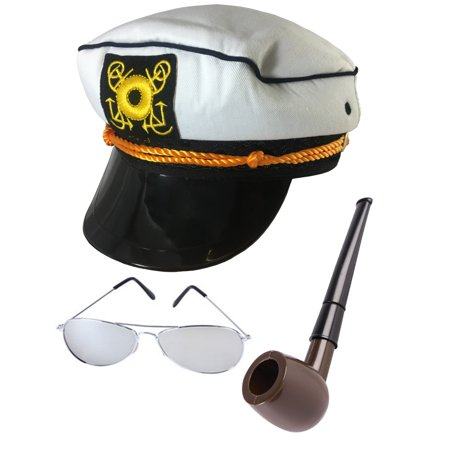 Yacht Hat Sunglasses And Pipe The Hefner Costume Accessory Bundle](Fish Head Costume Hat)