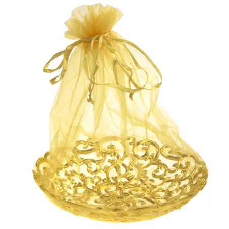 Organza Wrap Basket with Plastic Swirl Tray, 8-Inch, Gold