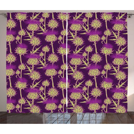 Thistle Curtains 2 Panels Set, Graphic Background with Vibrant Colored Scottish Thistles Pattern, Window Drapes for Living Room Bedroom, 108W X 108L Inches, Yellow Green and Purple, by Ambesonne Green Spiral Thistle