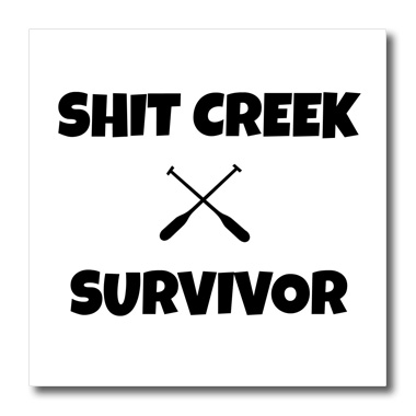 3dRose Shit creek survivor, pictures of paddles - Quilt Square, 6 by 6-inch